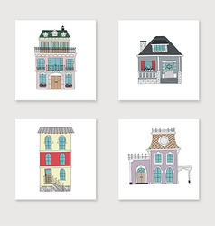 set hand drawing vintage houses vector image