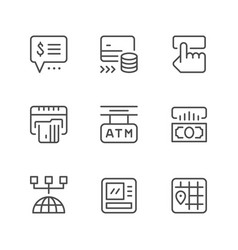 set line icons of atm vector image