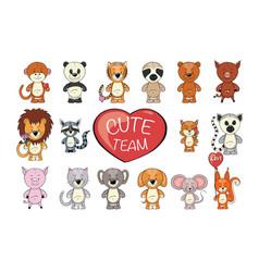 Set of funny cartoon exotic cute animals vector