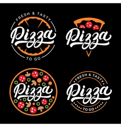 Set of pizza hand written lettering logo label vector image