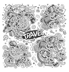 set travel planning objects and symbols vector image