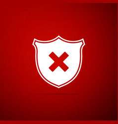 shield and cross x mark icon on red background vector image