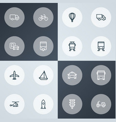 shipment icons line style set with stoplight vector image