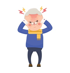 Sick Senior Man Having Headache and High Temperatu vector image