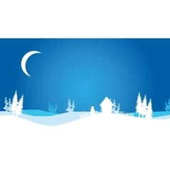 Silhouette of Christmas hills scenery vector