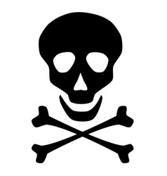 skull and cross bones icon symbol on white vector image