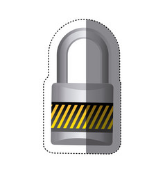 Sticker metal padlock with striped colorful body vector