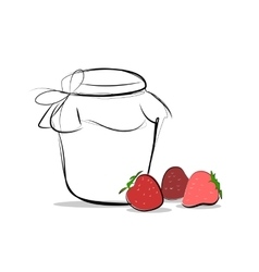 Strawberry jam colored sketch icon isolated vector image