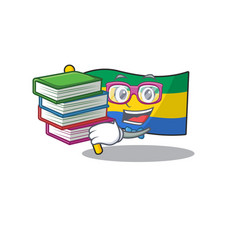 Student with book flag gabon stored in drawer vector