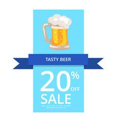 Tasty beer 20 off sale vector