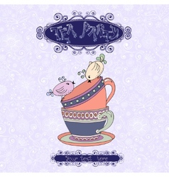 Tea party invitation card with cups and birds vector