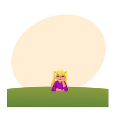 Teenage girl with ponytails liying on grass vector