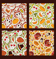 Thanksgiving food seamless pattern vector