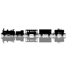 the black silhouette of a vintage steam train vector image