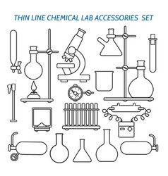Thin line chemical lab equipment vector