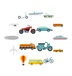 transport icons set flat style vector image