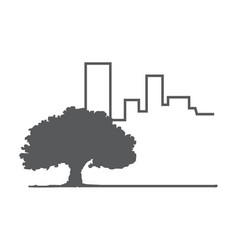 tree and building vector image