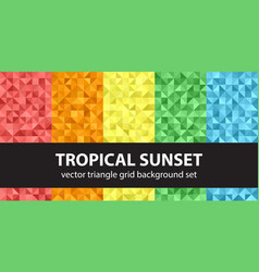 triangle pattern set tropical sunset seamless vector image
