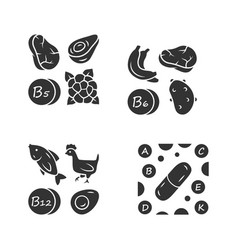 Vitamins glyph icons set b5 b6 b12 natural food vector