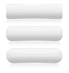 White 3d glass buttons vector