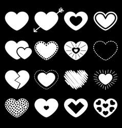 white heart big icon set different shape arrow vector image
