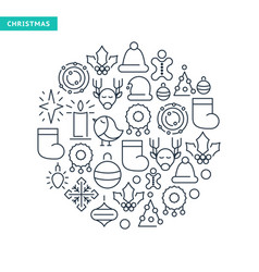 winter holidays lined icons collection vector image