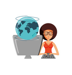 woman with desktop computer and planet earth vector image