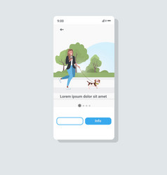 Woman with dog walking in park girl drinking vector