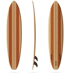 Wooden retro malibu surfing board vector