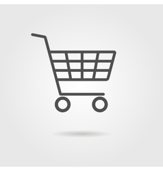 black shopping trolley with shadow vector image