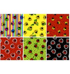 cartoon seamless pattern colorful ladybug set vector image