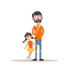 Father Wearing Glasses And Little Daughter vector image