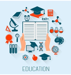 Flat design concept icons for education E-learning vector image vector image