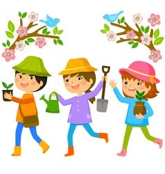 kids planting trees vector image