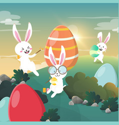 Rabbit painted easter eggs in the forest vector
