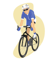 road cyclist in blue jersey vector image