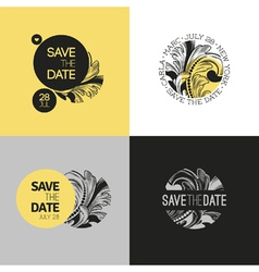 Save the date wedding graphic set in baroque style vector image