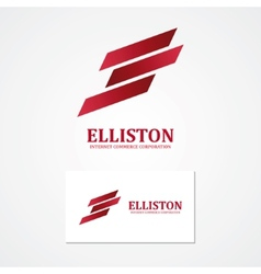 Abstract finance logo with business card template vector image