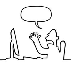 Angry man shouting at his computer vector image vector image