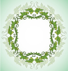 circle eco frame with leafes vector image vector image