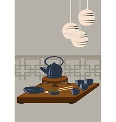 Japanese tea set vector image vector image