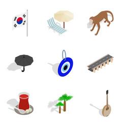 korean spirit icons set isometric style vector image vector image