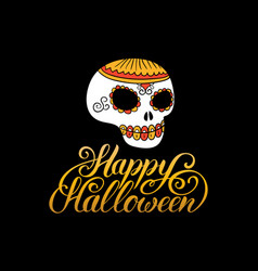 scull with happy halloween vector image vector image