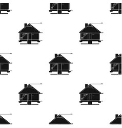 technical drawing of house icon in black style vector image
