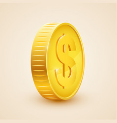 3d realistic gold coin icon us dollar money vector image vector image