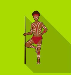 Astralian aborigine icon in flat style isolated on vector