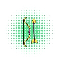 Bow and arrow icon comics style vector image