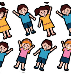 happy kids children pattern imag vector image