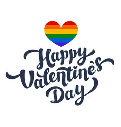 happy valentines day lettering and rainbow heart vector image vector image