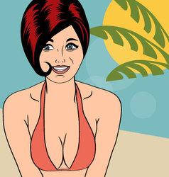 Hot pop art girl on a beach vector image vector image